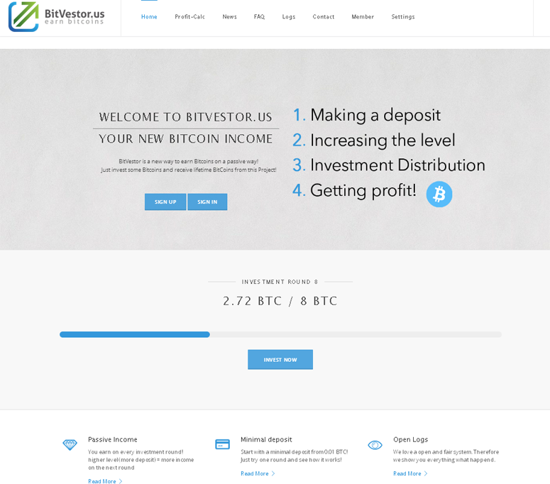 Bit Vestor Review - Earn Bitcoin each Investment Round