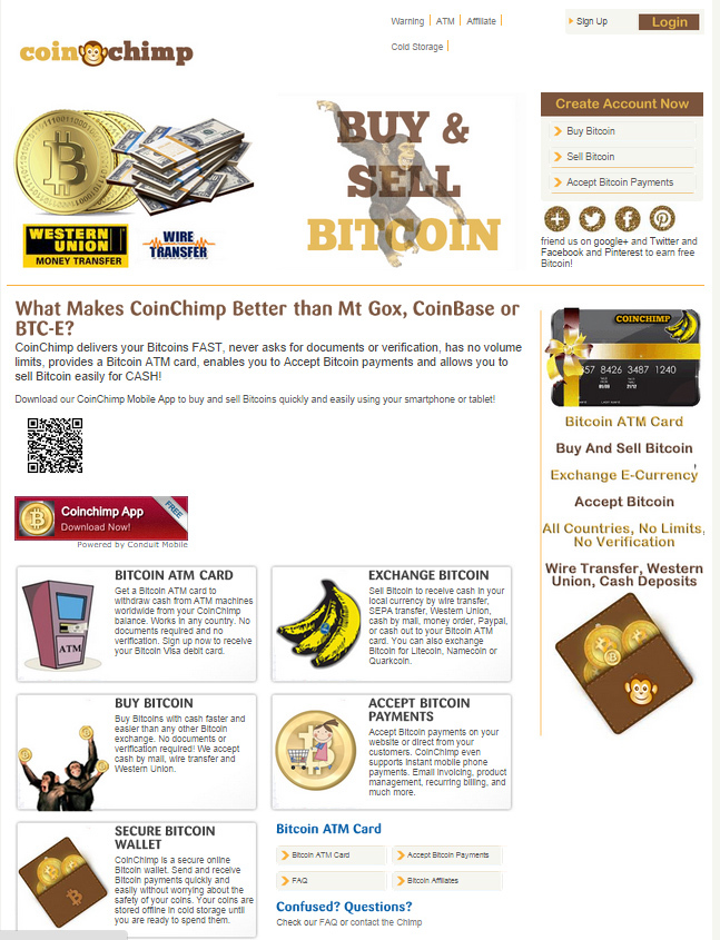 Coin Chimp – Buy & Sell Bitcoin ATM Card